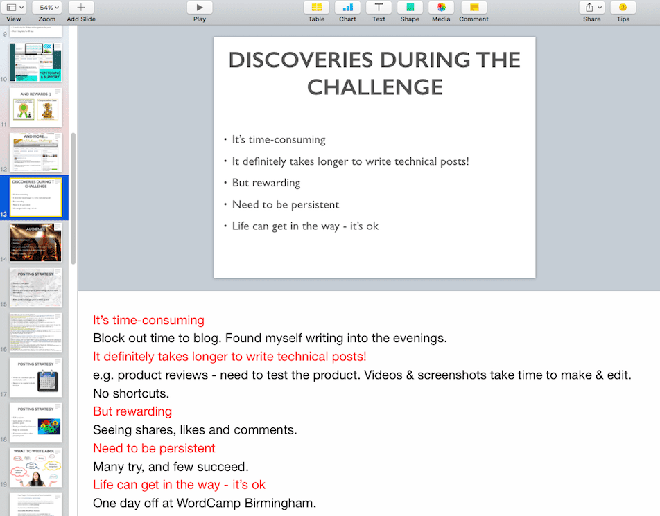 My speaker notes in Keynote for the Discoveries During the Challenge slide