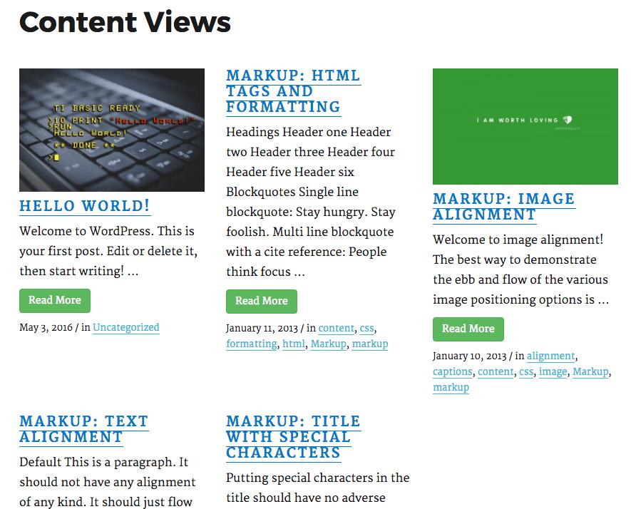 Content Views Grid display