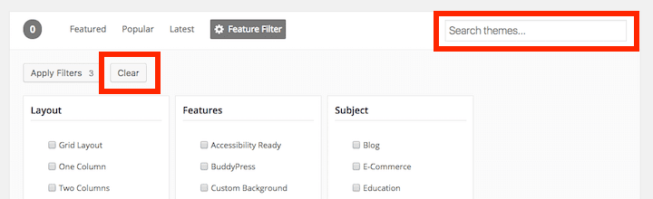 The Clear button and Search field highlighted