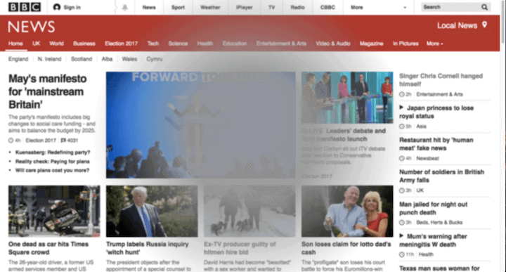 Simulation of the BBC News website as seen by a person with age-related macular degeneration