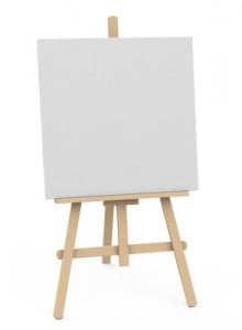 Easel holding blank canvas