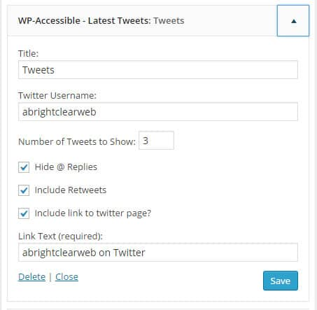 WP Accessible Twitter Feed widget options