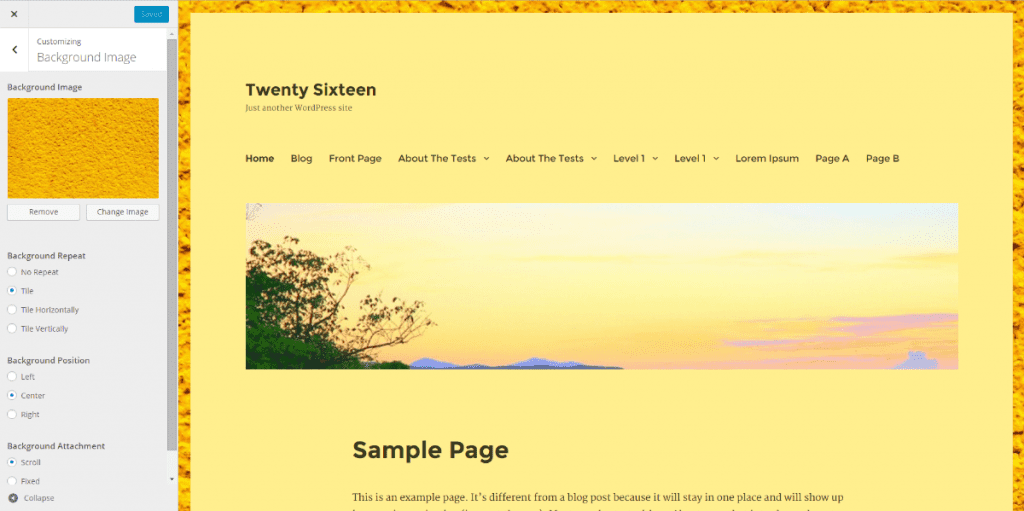 Twenty Sixteen Customizer showing the Yellow colour scheme, background and header images