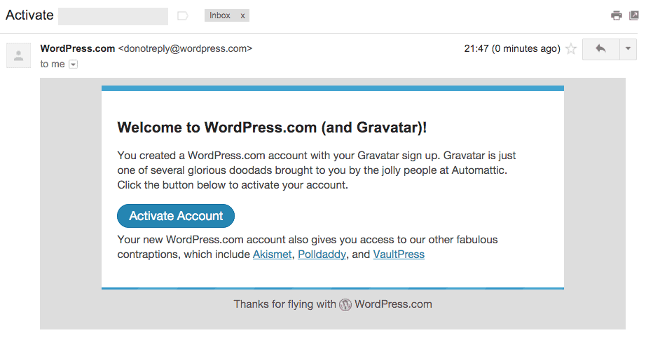 WordPresss.com and Gravatar eelcome email
