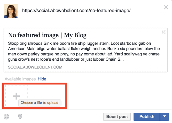 No Facebook preview image but the option to add an image
