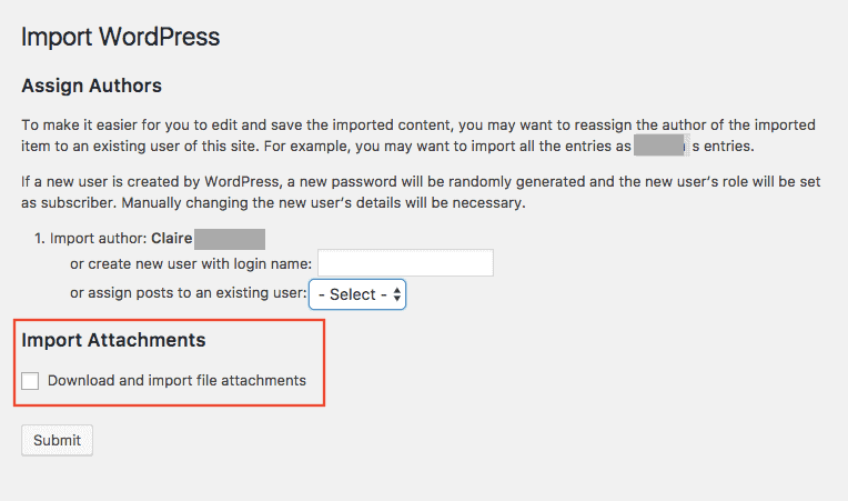 Import WordPress dialog with Import Attachments highlighted
