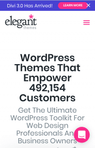 Elegant Themes homepage with hamburger menu icon opposite the logo