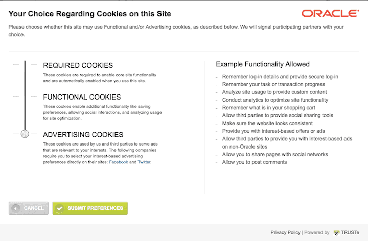 Cookie control with a slider on Oracle's website