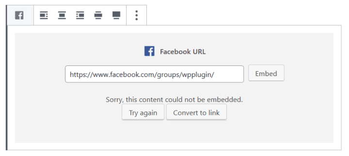 A link to a Facebook group can not be embedded