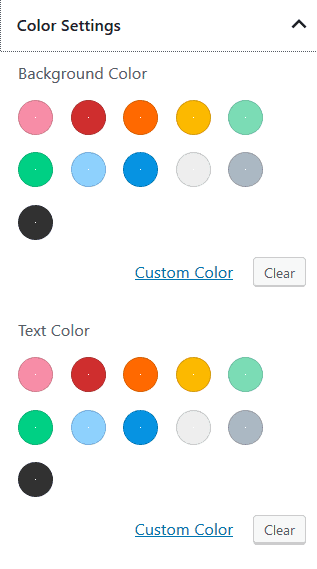 Color Settings with full range of 11 colours