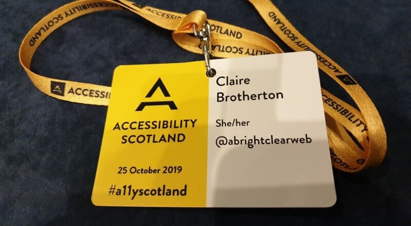Accessibility Scotland 2019 lanyard