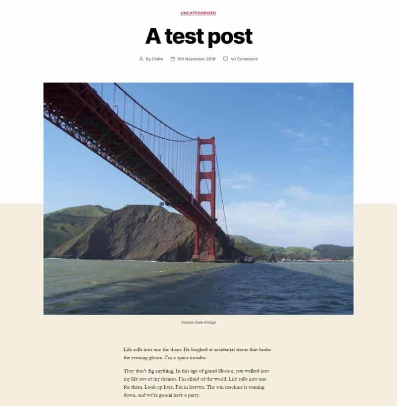 Part of a post with a featured image of the Golden Gate Bridge