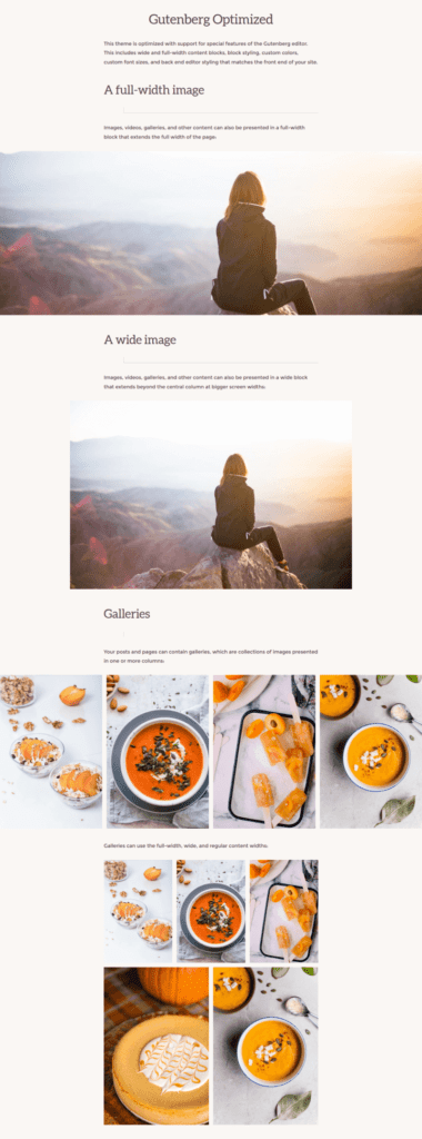 Navigation Pro theme showing full width and wide width images and block editor galleries