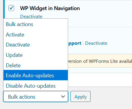 Bulk actions Enable Auto-updates
