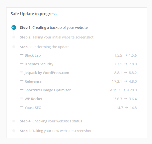 ManageWP Safe Update in progress